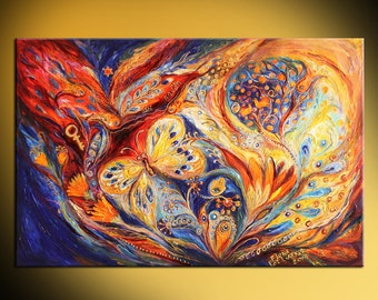 """Mixed Media & Collage Jewish art acrylic painting """"The Chagall Dreams"""" Wall hanging interior design Home decor hand painted giclee print"""