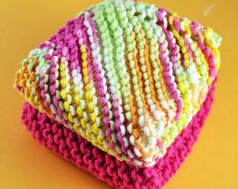 Handmade Dish Cloths - Citrus and Raspberries - 100 Percent Cotton - Hand Knit Wash Cloths and Dish Cloths - Pink Yellow Green White