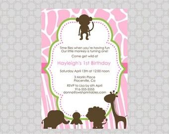 Pink Safari First Birthday Digital Invitation- Jungle Animal Pink Brwon and Green Silhouette Digital Invite