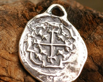 Reproduction Spanish Reale Charm in Sterling Silver, AD-39