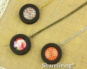 3 Sets 38mm Round Wooden Pendant Necklace With 25mm Setting / Tray - HW707E
