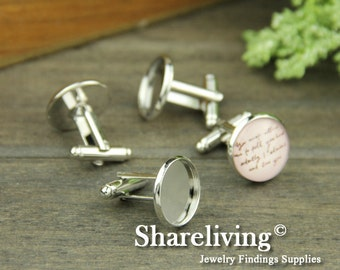 8pcs Silver Nickel-free Cuff Links With 16mm Base Setting HA610
