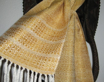 Handwoven White and Gold, Peace Silk Scarf, Naturally Dyed woven by Tisserande