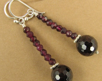Red Garnet and silver long drop earrings. Sterling silver.
