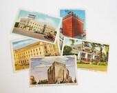 5 Vintage Architectural Postcards, 1940s Ephemera Building Linen Paper Urban Landscape Retro Collectibles Art Supplies Travel Souvenirs