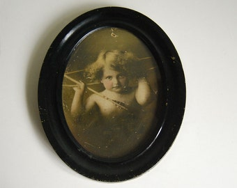 Cupid Awake Picture, Victorian Art, Antique Photograph, M.B. Parkinson, Wall Hanging Print, Sepia Tone Portrait, Vintage Romantic Portrait