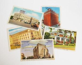 Vintage Architectural Postcards, 1940s Ephemera, Urban Landscape Art, Linen Postcard Collection, Building Illustrations, Art Supplies