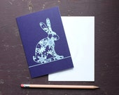 Snowflakes Hare Greetings Card