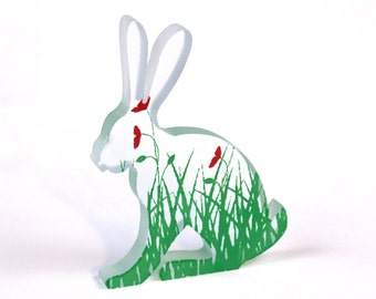 Poppy Hare Glass Sculpture