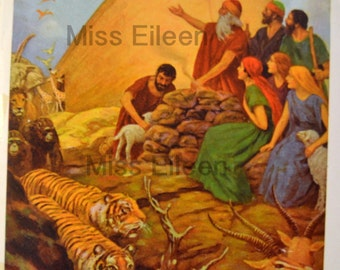 Vintage  Religious Art Print 1930's Noah Offering Thanks After the Flood Free Mat