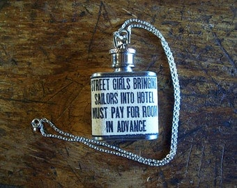 retro street girls and sailors necklace flask vintage 1950's rockabilly pin up girl kitsch