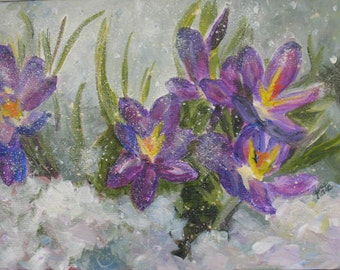 Crocus in the Snow Original Painting Just Reduced Winter Sale