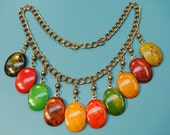 Rare unique one-of-a-kind necklace of brass chain with 10 multicolor cabuchons of genuin tested vintage 1950s multicolor bakelite plastic