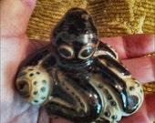 Baby OCTOPUS Sculpture Hand-built Pottery with Tenmoku type Glaze