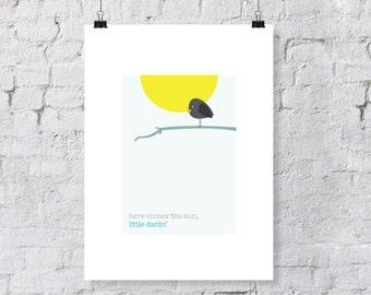"The Beatles Inspired ""Here Comes the Sun""  - nursery art print"
