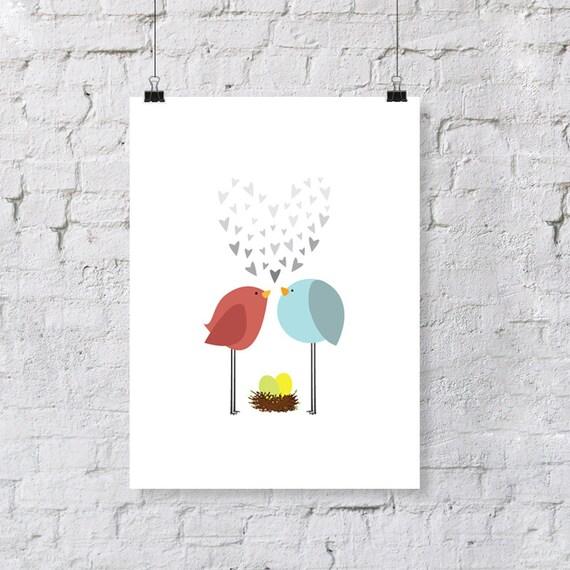 birdie love - twins - nursery art print