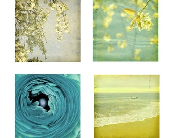 Nature Photographs, Landscape, Nautical, Beach Pictures,  Shabby Chic Wall Decor - yellow, blue,  Print Pack of Four 8x8 inch Photographs