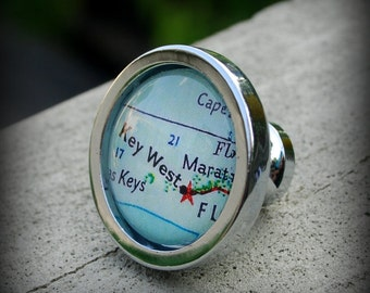 Key West Map Drawer Pull Cabinet Knob Handle