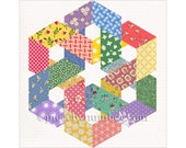 Hexagonia quilt block pattern, paper pieced quilt pattern, instant download, celtic knot quilt pattern, hexagon quilt pattern, geometric