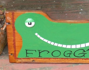Whimsical Frog Garden Art Decor - Froggy's - Hand Painted Shed Folk Artwork Green Painting on Repurposed Oak or Chestnut Wood