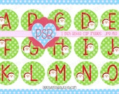 Christmas Alphabet 1 Inch Bottle Cap Images - Digital Download