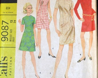 Vintage 60's Sewing Pattern McCall's 9087 Sheath Dress Bust 34  inches Complete Uncut