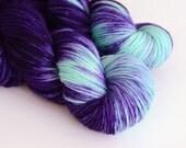 Hand Dyed Worsted Yarn - Superwash Merino 218 Yards - Hecate - Indigo Purple and Turquoise