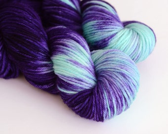Hecate - Hand Dyed Yarn - Worsted Weight - Dark Purple and Turquoise - Variegated - Greek Mythology