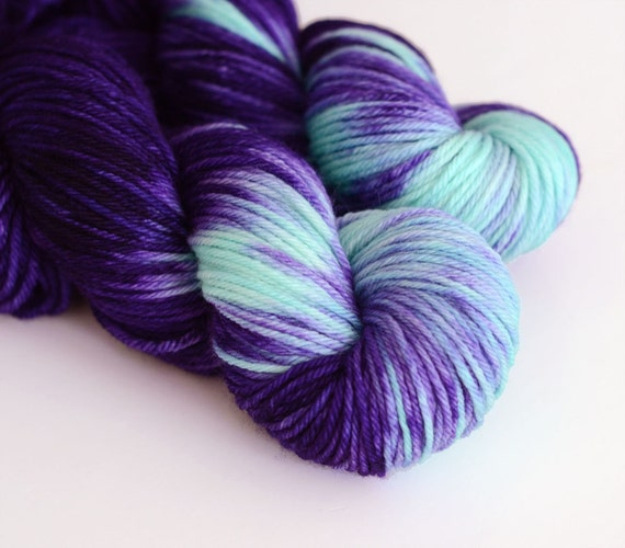 Hand Dyed Yarn : Hecate - Hand Dyed Yarn - Worsted Weight - Dark Purple and Turquoise ...