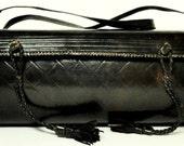 Vintage Custom Made Dark Brown Structured Leather Shoulder Bag
