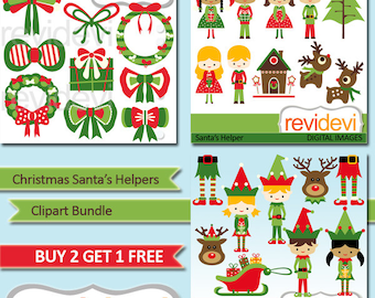Christmas clipart / kids, ribbbons, deer, red, green / Christmas Santa's little Helpers Clip art bundle sale, commercial use
