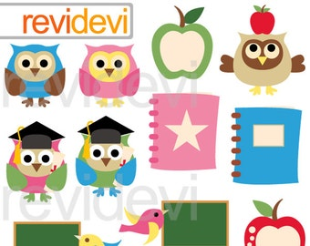 Back to school clipart / Owls school days 07564 / commercial use, digital images
