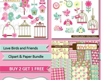 Valentine clipart sale bundle / love birds, birdcage, birdhouse clip art, digital paper, commercial use, instant download