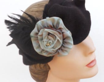 Polar Fleece Flapper Headband - French Ribbon rose - Madeline -Sable and Antique Blue