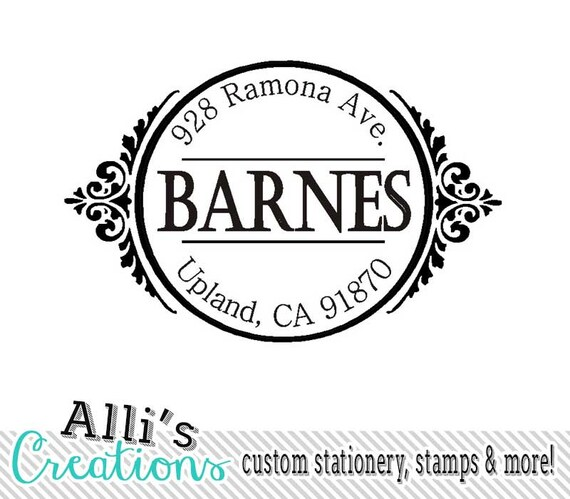 Ornate Return Address Stamp Self Inking Address Label Monogram