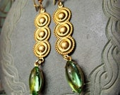 LADY of the LAKE Ancient Style Dangle Earrings gold tone brass sea green glass Avalon inspired