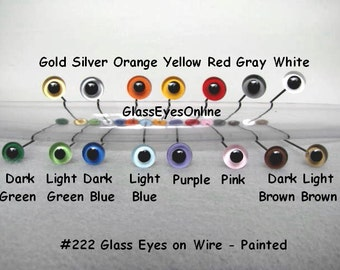 6 Pair 9mm or 10mm or 11mm or 12mm Glass Eyes On Wire Hand Painted For Teddy Bears, Dolls, Sculpture, Needle Felting, Carving  ( 222 )