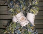 100% Kid mohair, handspun, art yarn, Creation colorway, Seahawk blue and green