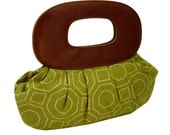 Pleated Clutch - Green Octagon with Brown Faux Leather - Sale
