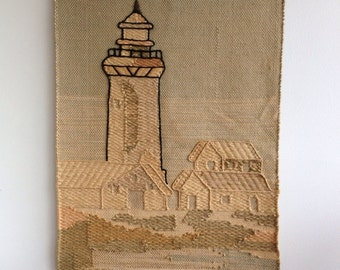 SALE, Vintage Woven Wall Hanging : 1970s Textile Lighthouse Coastal Scene