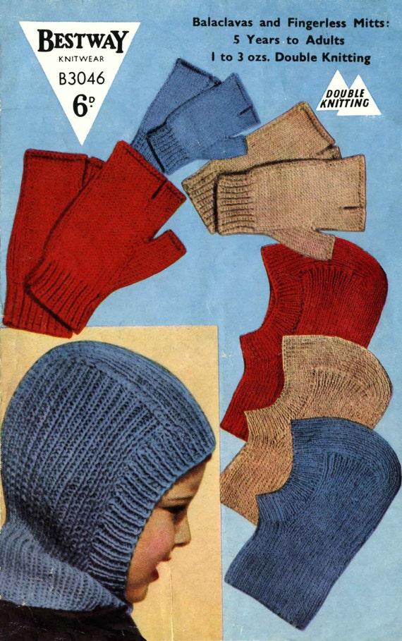 Vintage Balaclava Knitting Pattern : Vintage Balaclava Helmet and Fingerless Mitts Knitting