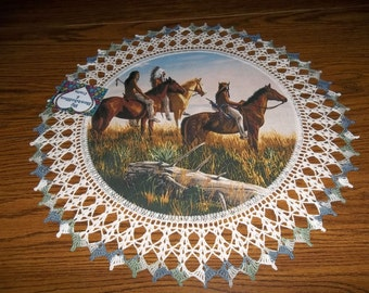 Crocheted Doily Indian Chief with Two Braves on Horseback  Fabric Center with Crocheted edging Doily 20 inches