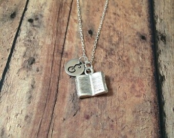 Book initial necklace -  book jewelry, gift for teacher, librarian necklace, teacher necklace, gift for reader, silver book necklace