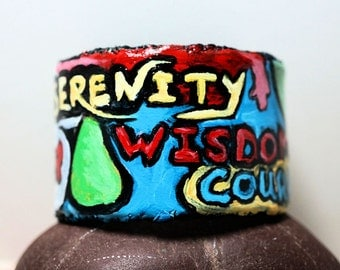 Hand Painted Bracelet, Graffiti Cuff Bracelet, Soft Leather Cuff, Daily Affirmation, Recovery Jewelry