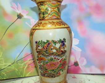 Moriage Vase, Asian Moriage Flowers and Bird Vase, Vintage Yellow and Creme Color Vase