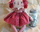 Primitive Raggedy Annie doll prim red dress