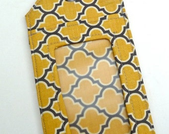 Luggage Tag - Fabric - Yellow and Gray - Lattice - Travel - Destination Wedding - Party Favors - Shower Favors