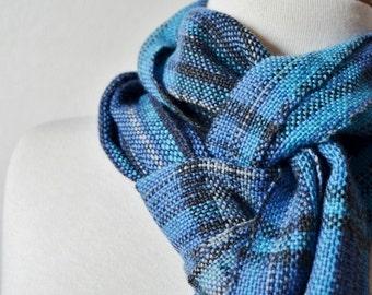 Blue Faux Plaid Scarf - Handwoven Scarf in Wool Blend Yarn & Alpaca Silk - Soft Fall Fashion for Men or Women