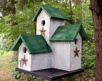 Primitive Country  Condo Birdhouse White and Green Three Nesting Boxes