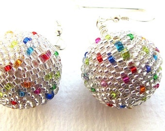 MADE TO ORDER Disco Ball Earrings, Beaded Bead Lightweight Dangle Earrings, 18mm, Bright Silvertone and Multicolour